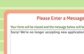 Custom Form Inactive Message