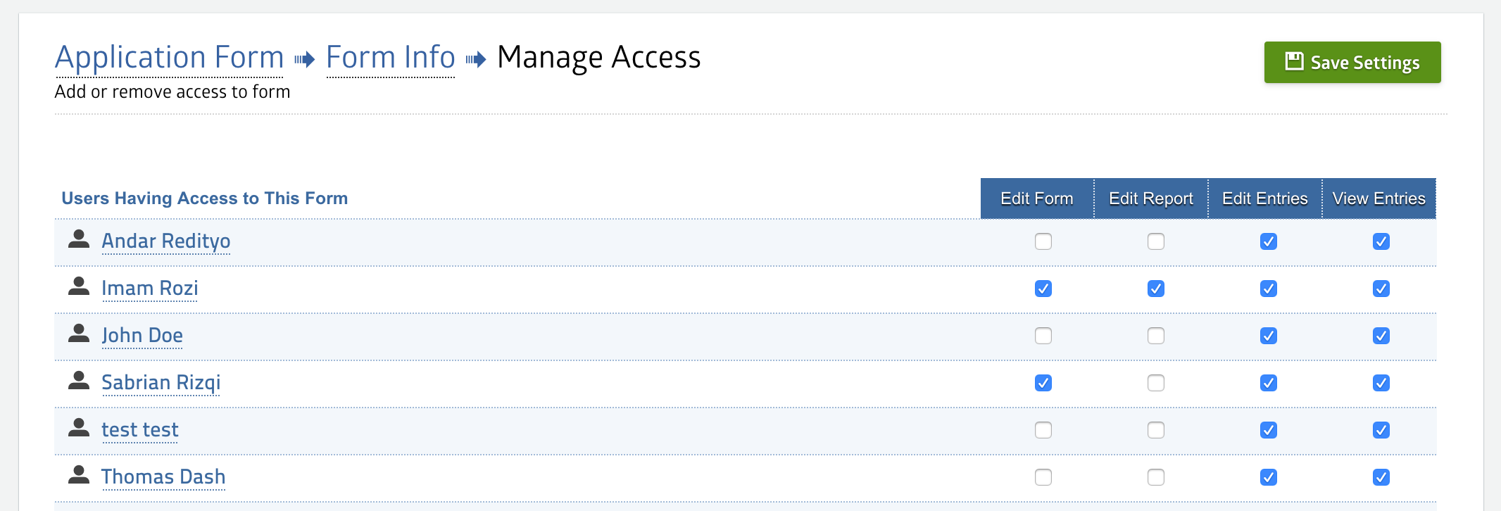 Manage Access - MachForm