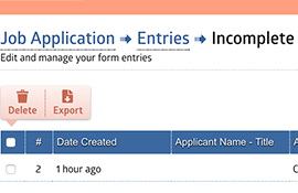 Manage Incomplete Entries